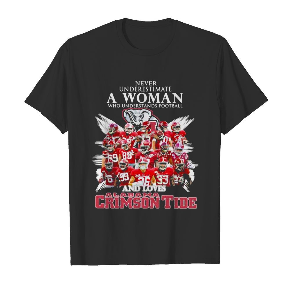 Never Underestimate A Woman Who Understands Football And Loves Alabama Crimson Tide Symbol Elephant shirt