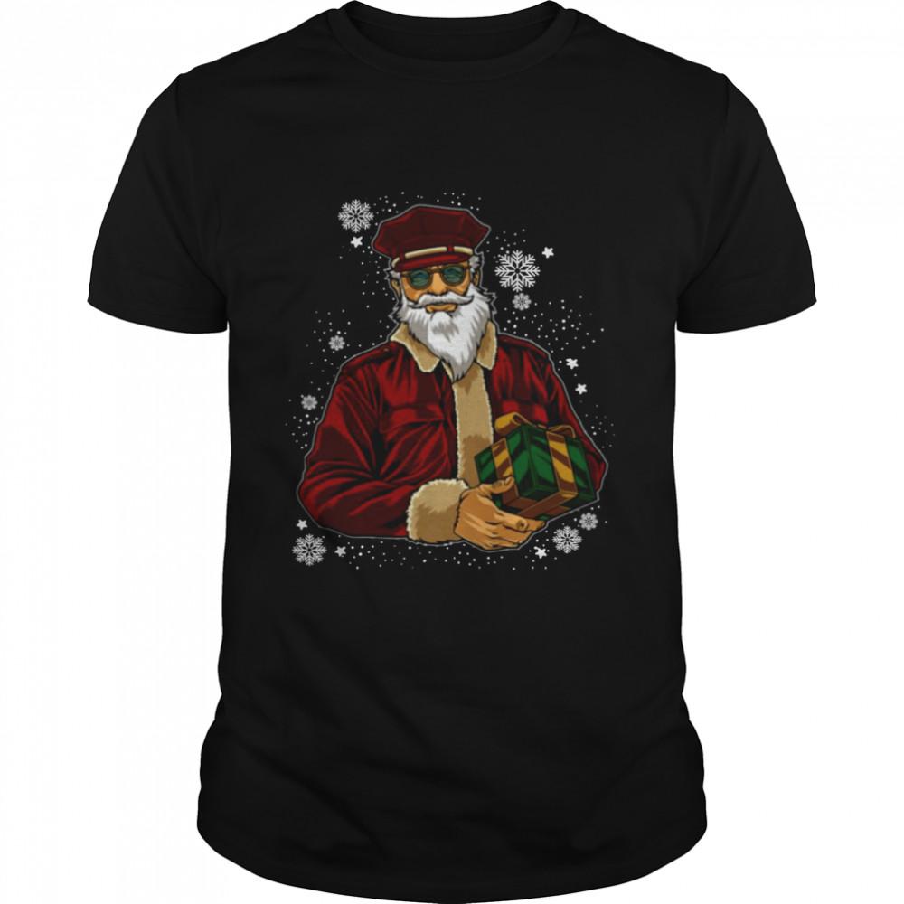 Cool Santa Police Officer Giving Gift On Ugly Christmas shirt