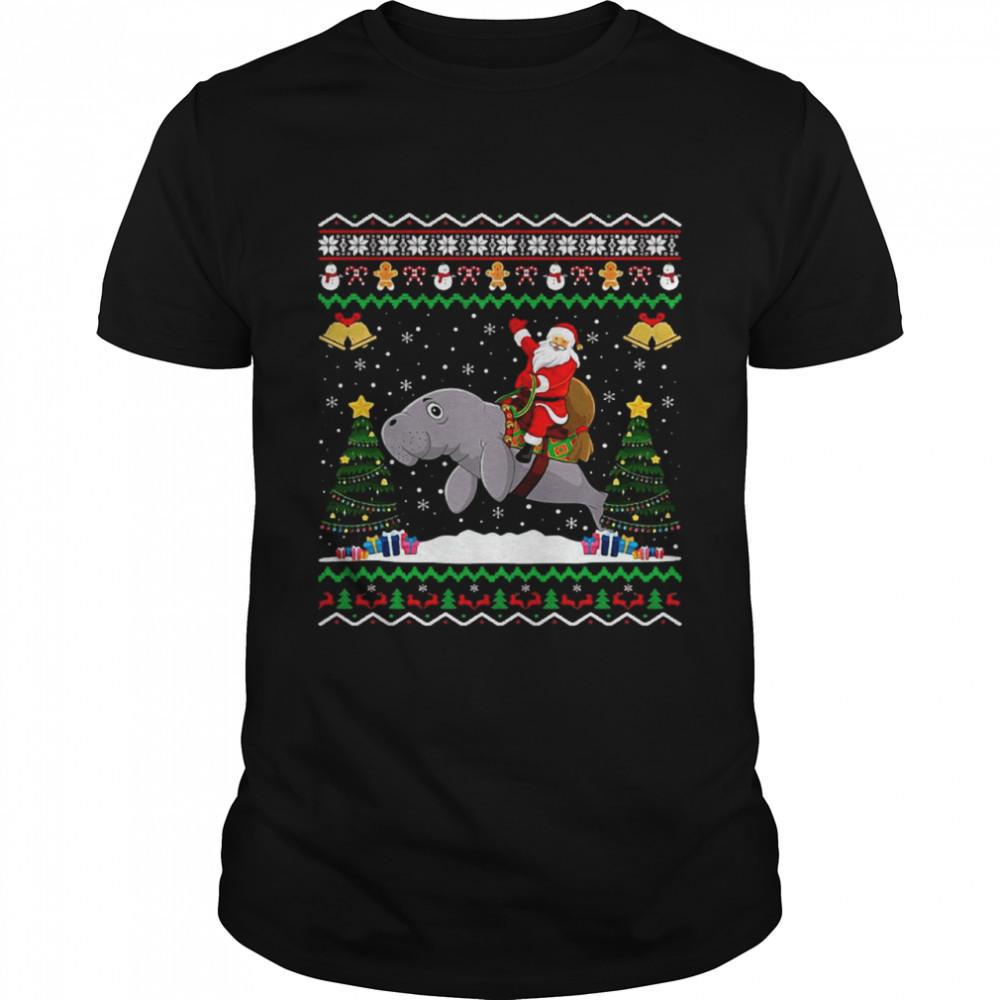 Dolphin Ugly Xmas Gift Santa Riding Dolphin Christmas shirt