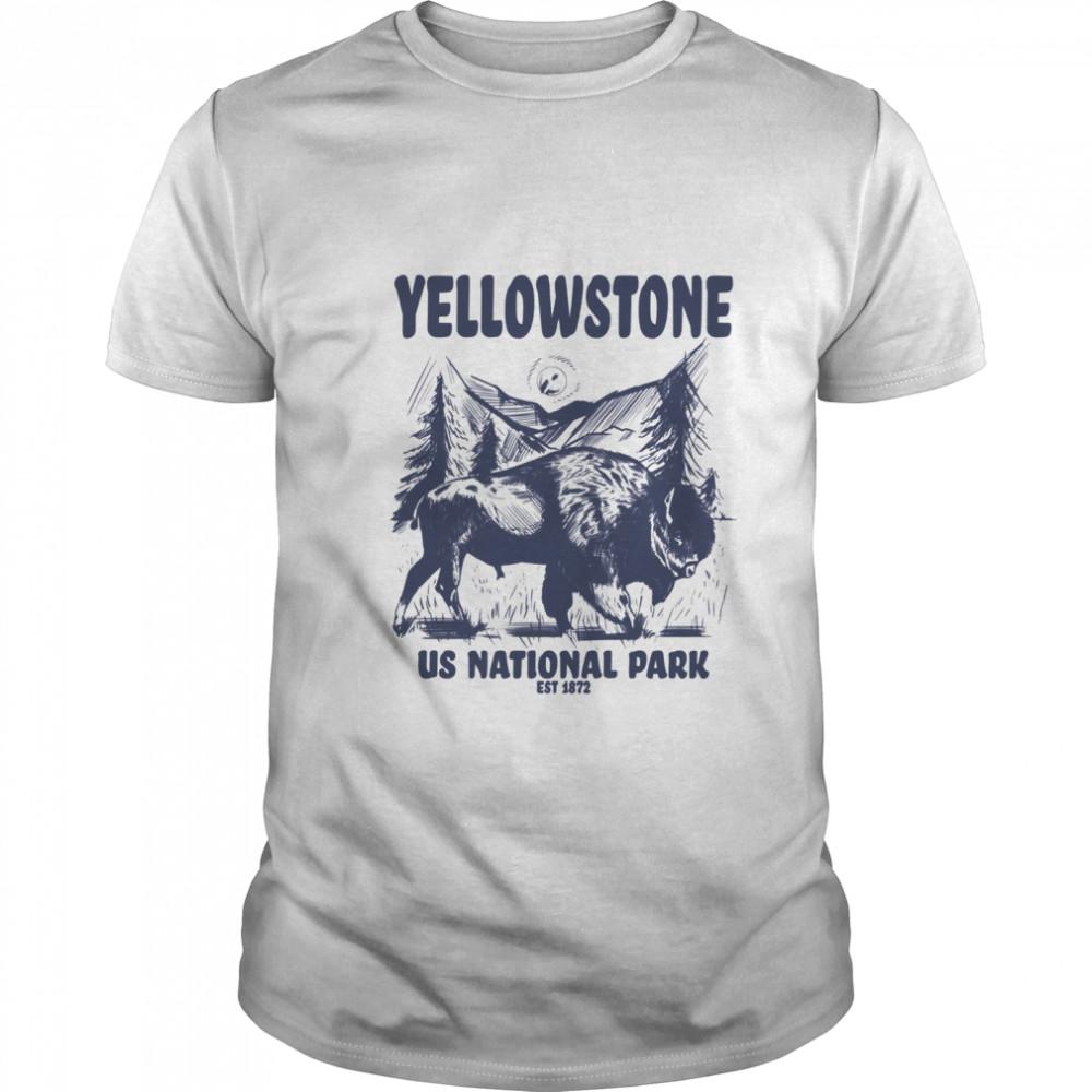 Yellowstone US National Park 1872 Bison Mountain Landscape shirt