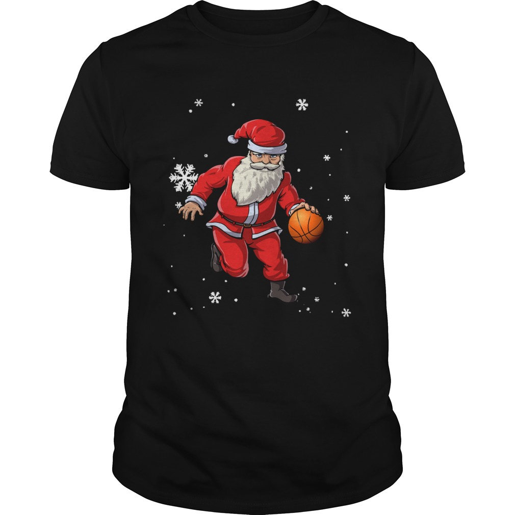 Christmas Basketball Pajamas Santa Claus Slam Dunk shirt