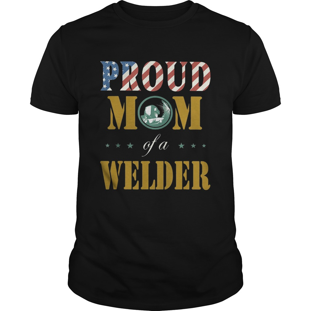 Proud mom of a welder american flag shirt