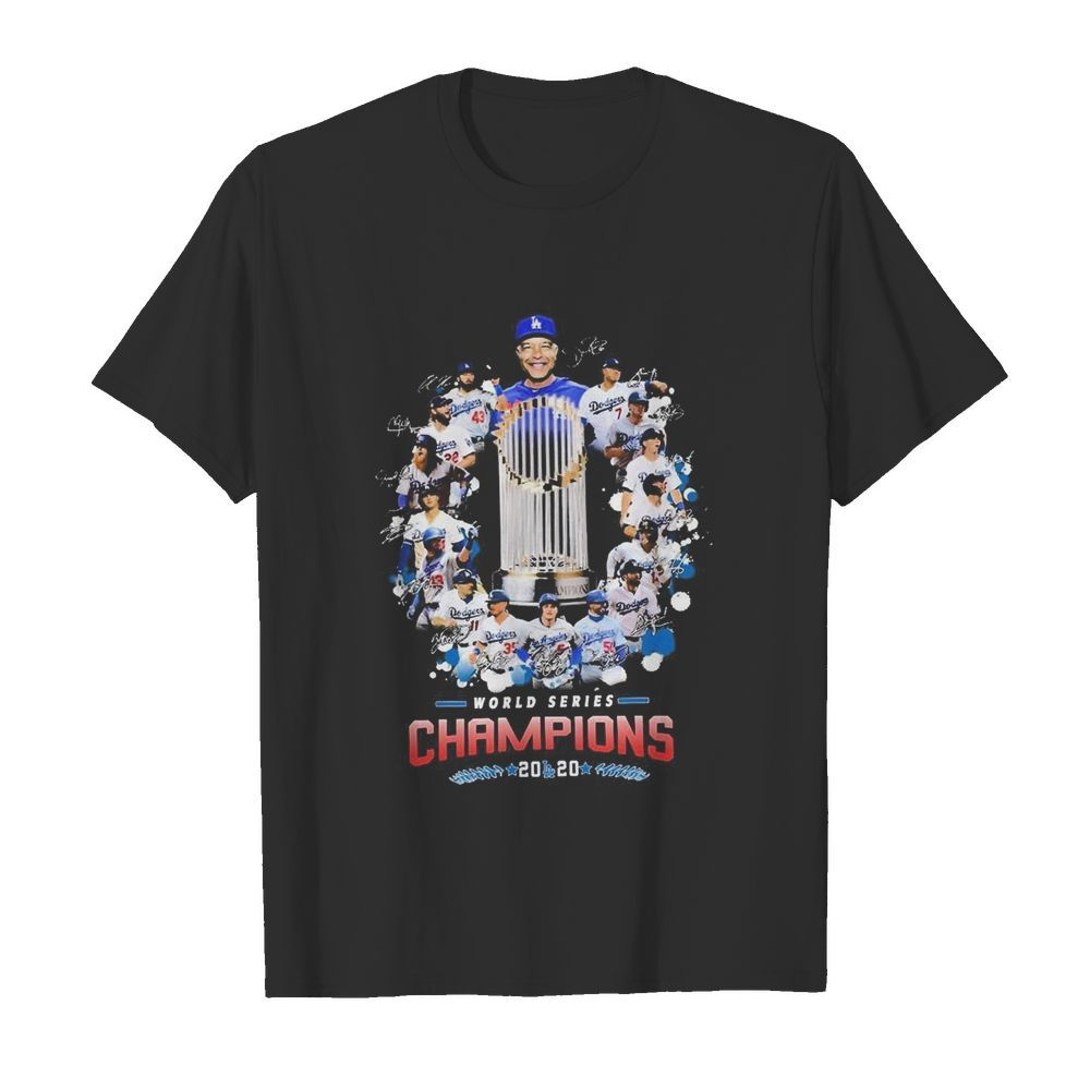 Los Angeles Dodgers world series Champions 2020 signatures shirt