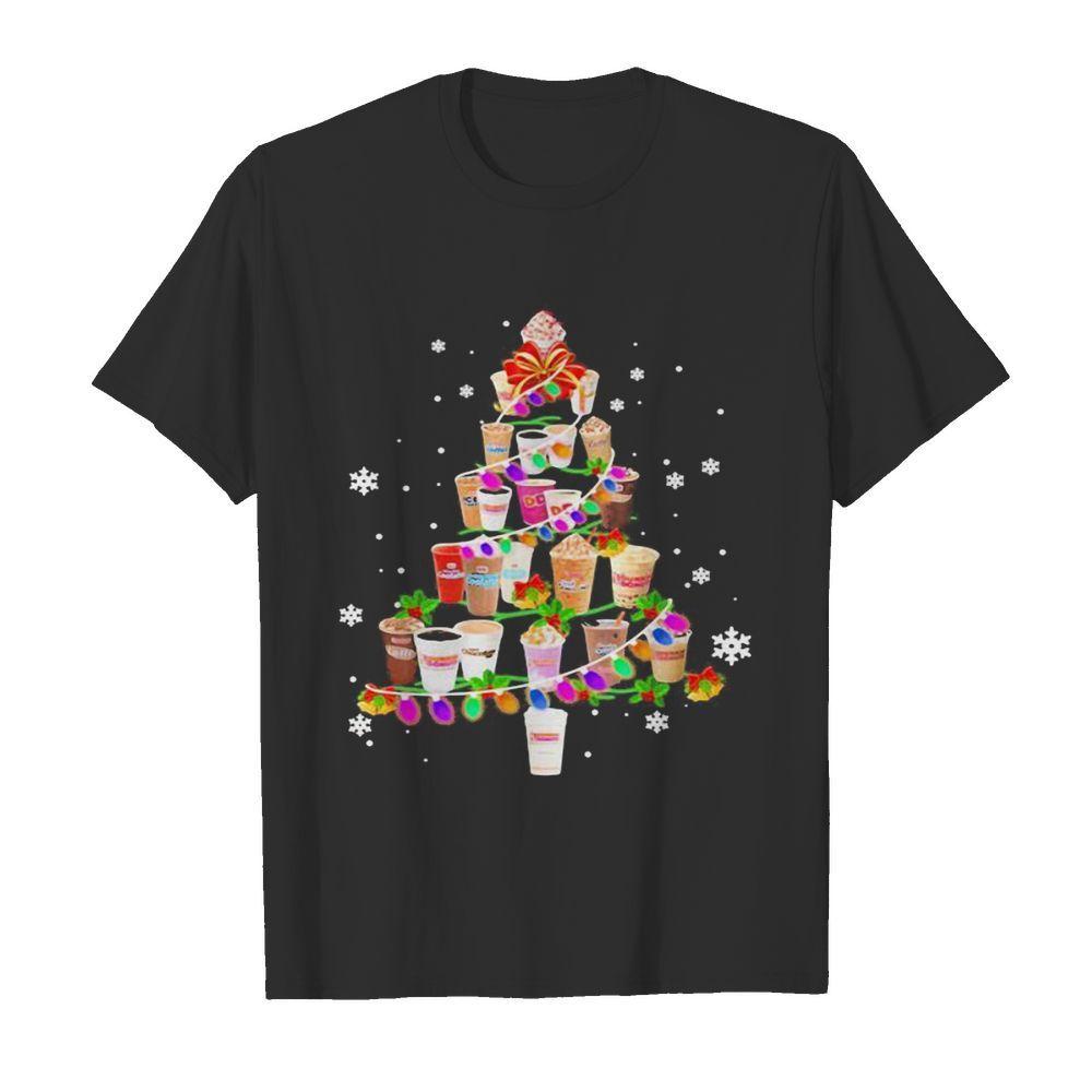 Merry christmas tree dunkin donuts coffee shirt