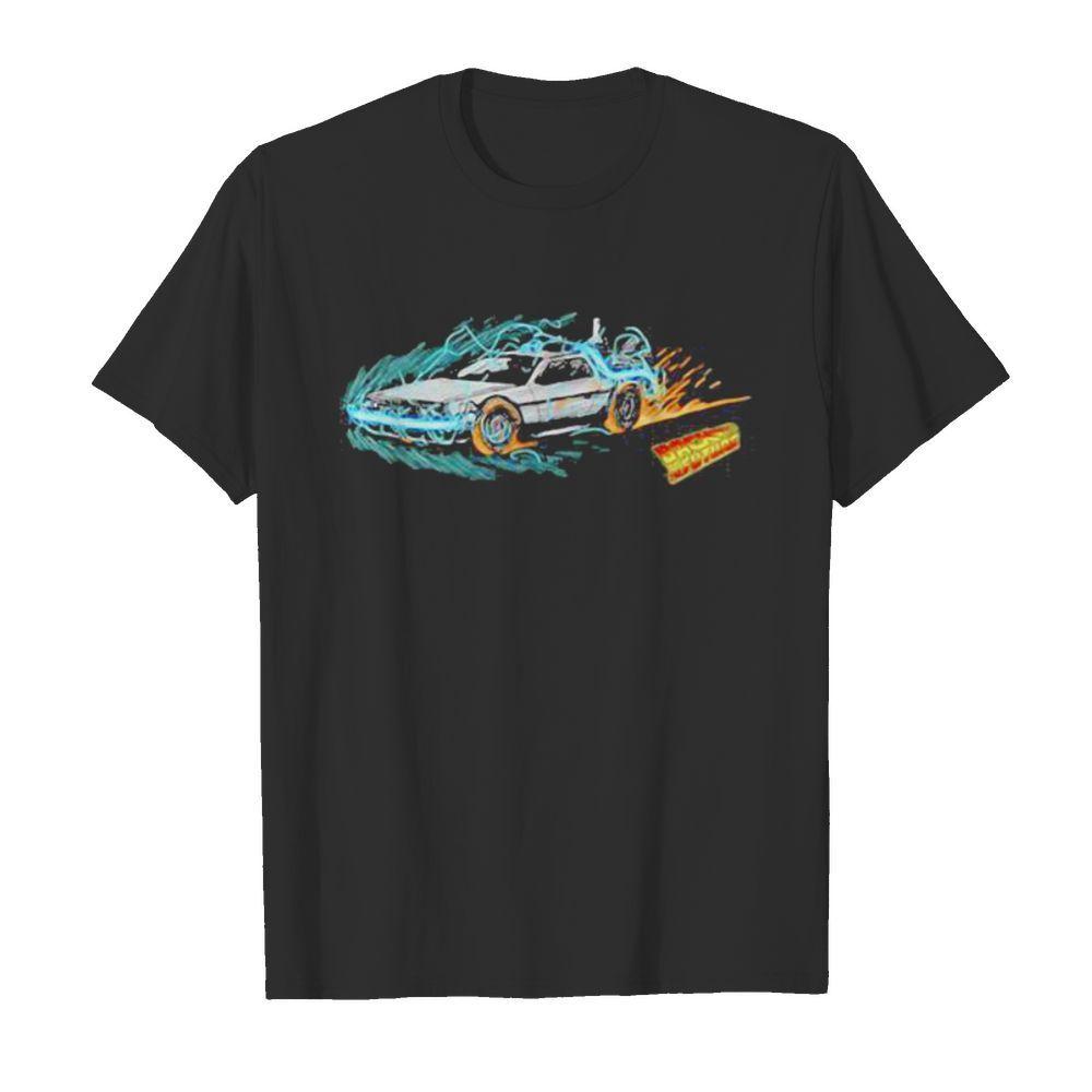 Speeding through time back to the future fire shirt