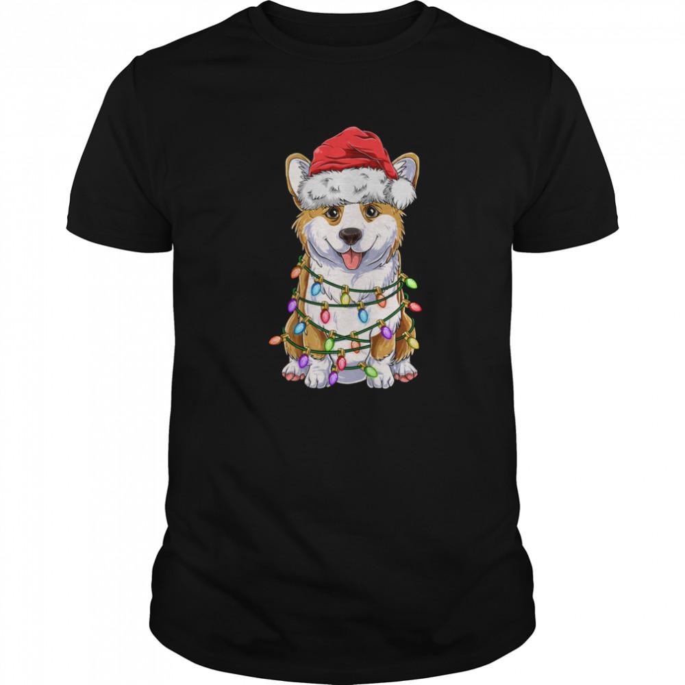 Corgi Christmas Tree Lights Santa Hat Dog shirt