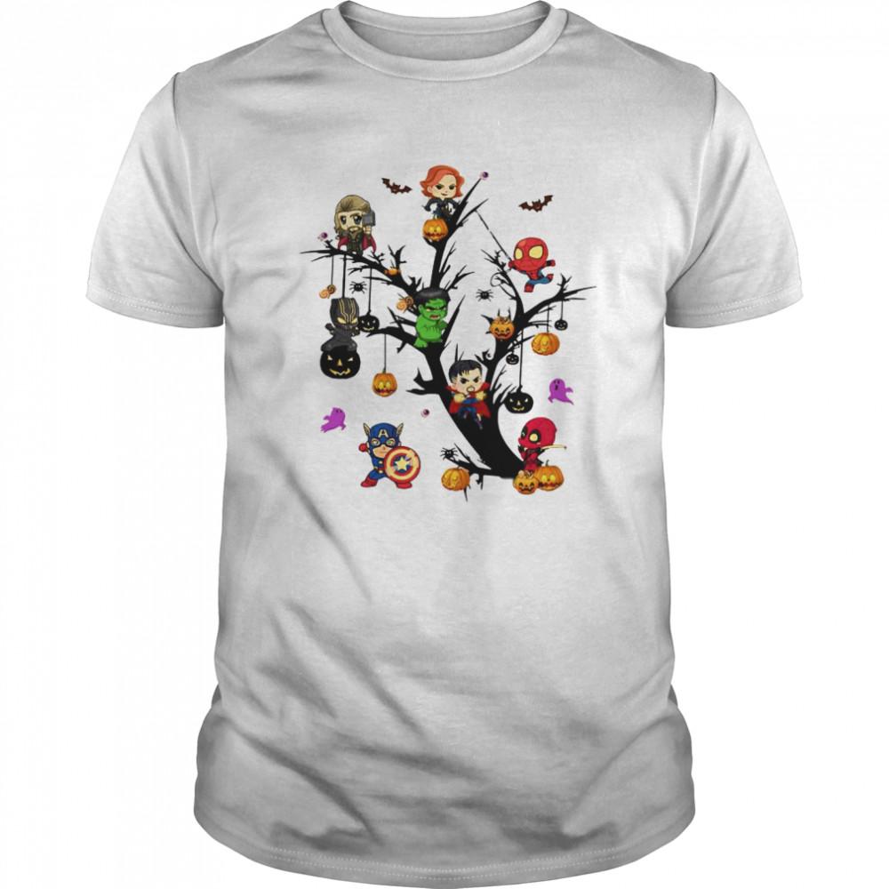 Avengers Superheroes Tree Halloween Pumpkin shirt