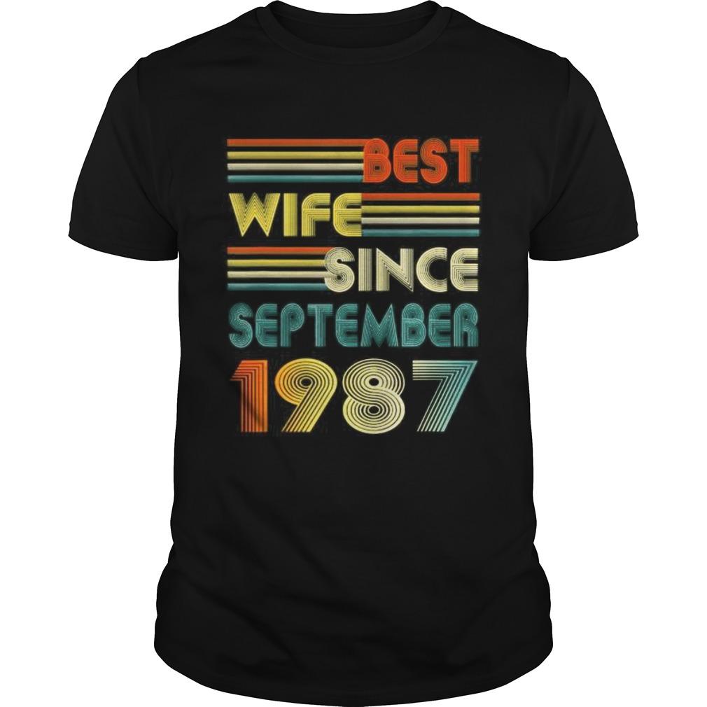 33rd Wedding Anniversary Gift Best Wife Since September 1987 shirt