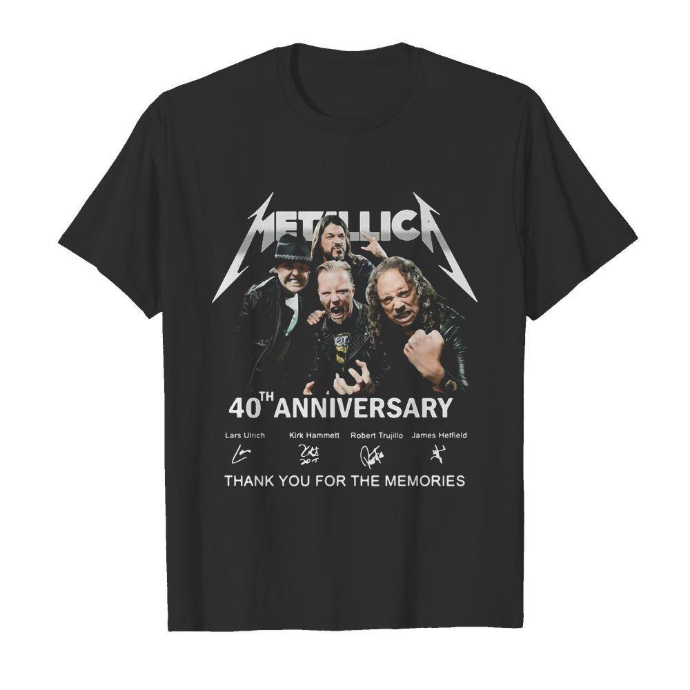 Metallica band 40th anniversary lars ulrich kirk hammett robert trujillo james hetfield thank you for the memories signatures shirt