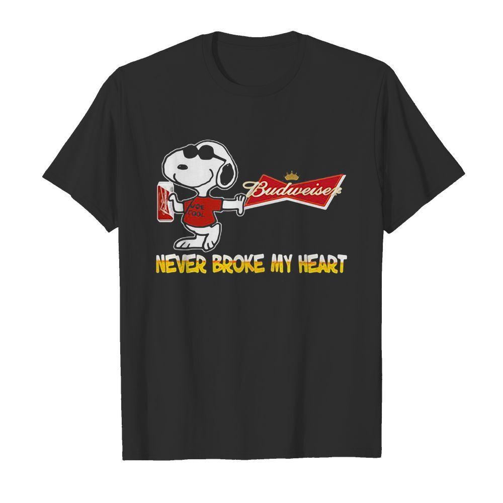 Snoopy budweiser beer never broke my heart logo shirt
