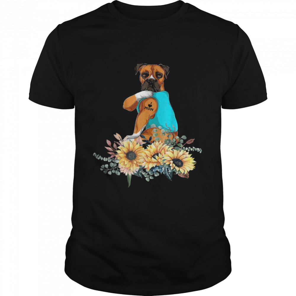 Boxer Sunflower Vintage Retro For Dog Shirt