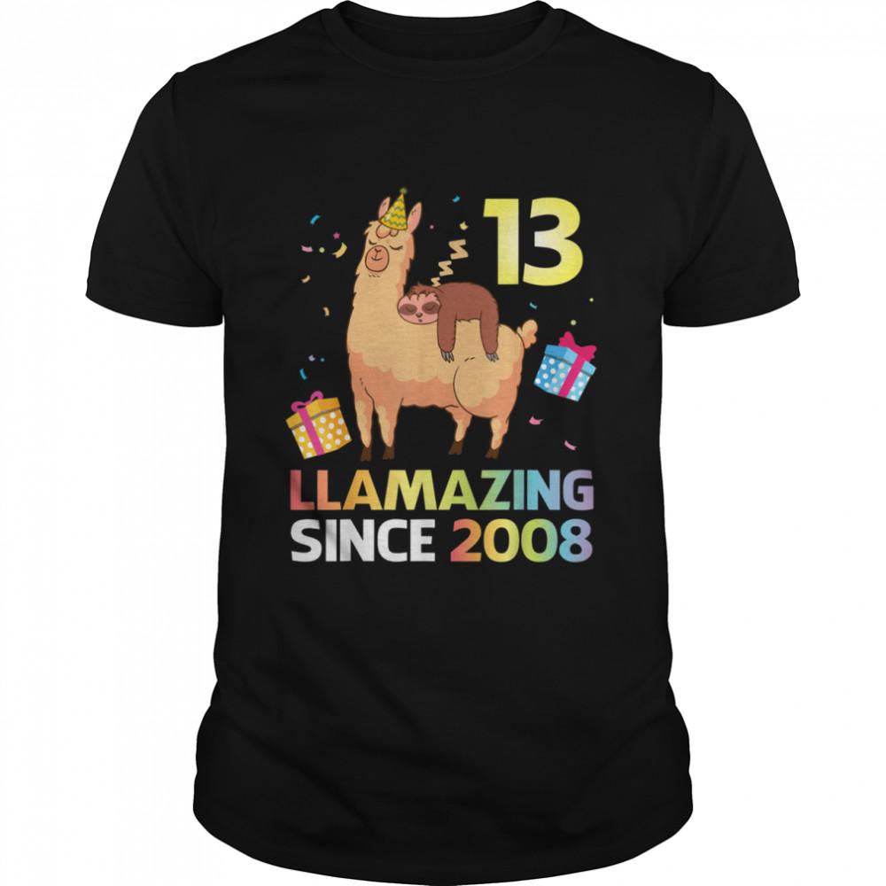 Sloth Sleep On Llama Birthday 13 Years Llamazing Since 2008 Shirt