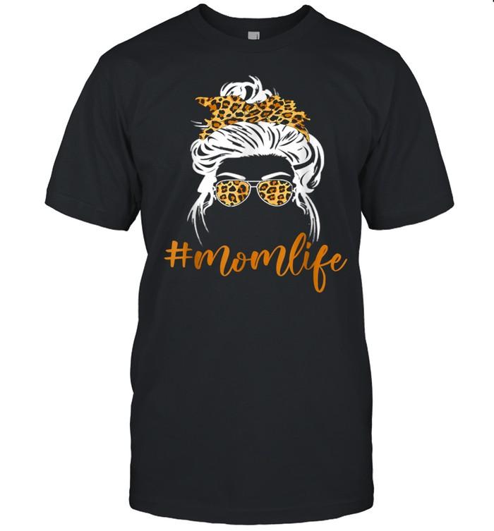 Classy Mom Life with Messy Bun & Leopard Bandana Shirt